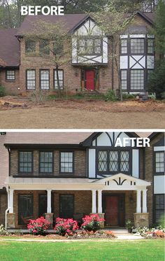 This new half porch beautifully complements a tudor style home. Designed and built by Georgia Front Porch.