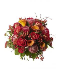 Calla and Protea Bouquet - Orange Calla Lilys, Red Proteas, Friendship Roses and Red Hypericum