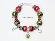 Green red CHRISTMAS charms bracelet, Stars charms european bracelet, full beaded, LIMITED edition, OOAK, Christmas gift bracelet