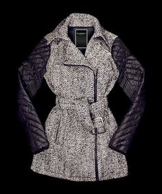 Love this Black & White Quilted Tweed Wool-Blend Coat - Women by Runway on #zulily! #zulilyfinds