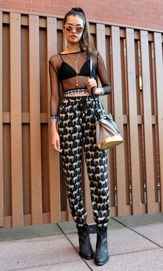 Gizele Oliveira - Bitching And Junk Food Top, One Look Trousers, Dai Bags Bag - Zebras and stars