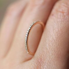 So small and simple! If I get married, THIS is the kind of wedding ring I want. <3    Micro Pave White Diamond Half Circle Band in 14K Gold (size 4-7) - Made to Order. $262.00, via Etsy.