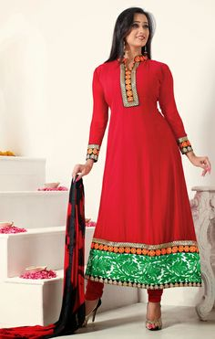 Buy Designer Tomato Red Churidar Kameez Set Online. Online Shopping for Georgette Salwar Kameez at affordable Cost.
