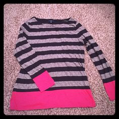 GAP long sleeved tee Gray and black striped with bright pink accents on cuffs and bottom hem. Boat neck. Worn twice. Excellent condition. GAP Tops Tees - Long Sleeve