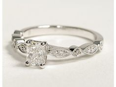 Love my ring, but this milgrain is pretty. Milgrain Marquise and Dot Diamond Engagement Ring in 14K White Gold