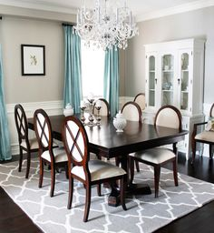 Dining room, maybe not these colors but the table is perfect for family dinners.