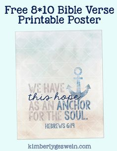 Free Printable Poster: We have this Hope as an Anchor for the soul. Distant Love, Free Poster Printables, Hope Anchor, Women's Retreat, Retreat Ideas, Bible Study Journal, Verses, Scriptures, Sign Quotes