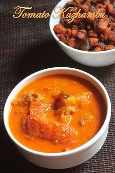 Tomato Kuzhambu Recipe - Thakkali Kulambu Recipe - Yummy Tummy Easy Veg Recipes, Cooking Recipes, Kulambu Recipe, Easy Gravy, Indian Kitchen, Complete Recipe, Recipe Collection, Curry, Pumpkin