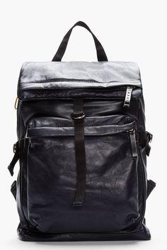 MARNI Midnight purple textured leather backpack