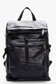 MARNI Midnight purple textured leather backpack