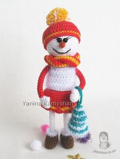 REGULAR PRICE IS EUR 6.5 SPECIAL PRICE IS EUR 5.20 (VAT is not included) PROMO ENDS December, 7 2016  PLEASE NOTE: THIS IS A PATTERN ONLY and NOT THE FINISHED TOY!!!  Crochet pattern by Yanina Kamyshan  MATERIALS AND TOOLS you will need:  - yarn in white, red, yellow, brown and green colors – I used less than 50 g of each; - fluffy yarn – I used less than 20 g; NOTE: Make sure all yarns crochet to the same gauge! - small amount of dark orange color yarn for the nose – it should be…