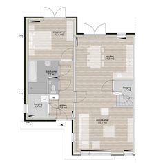 levensloopbestendige twee onder 1 kap plattegrond - Google zoeken Building Design, Building A House, House Layouts, Bungalow, House Plans, Floor Plans, How To Plan, Google, Container Homes