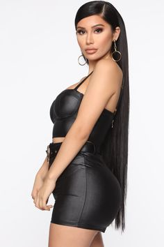 Available In Black And Neon PinkPU Leather Short SetBustier TopAdjustable StrapsHigh Waist ShortsRemovable Buckle Belt Polyester Spandex Leather Shorts Outfit, Black Leather Shorts, Black Bustier, Bustier Top, Short Outfits, Chic Outfits, Fashion Outfits, Curvy Fashion, Girl Fashion