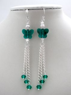 Emerald Crystal Butterfly Tassel Earrings by OohlalaBeadtique, $8.00