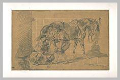 A blacksmith - Eugène Delacroix. Titulo original: Maréchal ferrant arabe. Orientalismo