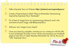 """Does your gorgeous yearbook peak your """"Pinterest?"""" If a picture is worth a thousand words.. A Pinboard full of yearbook pins is worth two printed soft cover books or a $50 gift card.  Join the contest today and pin away! http://www.expressly-yours.net/contest/"""