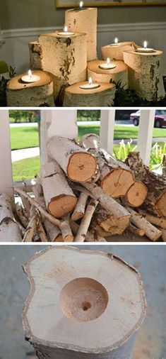 Photo: Tree Stump Candle Holders! Most people this time of year have fire wooding hanging around or know of someone that has wood. Drill out the center of different size logs, cut big enough to set a tea light candle in the middle. Arrange into a beautiful center piece, add some berries, silk leaves around the base to add the fall touch!
