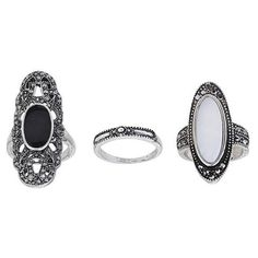 TOPSHOP Shell And Cut-Out Ring Pack ($19) ❤ liked on Polyvore featuring jewelry, rings, black, seashell jewelry, topshop rings, seashell ring, topshop jewelry and set rings