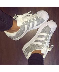 promo code 5d402 62700 Adidas Superstar Silver Glitter Trainers Baskets Nike, Adidas Outfit, Adidas  Superstar Outfit, Adidas