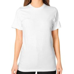Realistic Octopus White on Black Unisex T-Shirt (on woman)