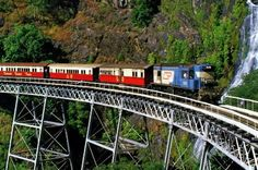 the beautiful tropical hill country between Cairns and Kuranda in far north Queensland from the comfort of the Kuranda Scenic Railway.