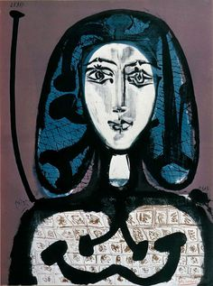 Woman with Hairnet, Pablo Picasso, 1949 #picasso #art   (like the Halloween pumpkin!)