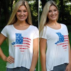 """NWT Texas Faded American Flag Print Graphic Tee Perfect for the patriotic Texan! This is in our """"comfy"""" style cut and is completely made in the USA! Runs true to size and the model is wearing size medium! Paperback Boutique Tops Tees - Short Sleeve"""