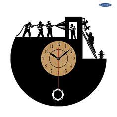 Super Cool Firefighters Vinyl Wall Clock