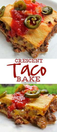 Crescent Taco Bake Recipe - Taco Meat, rotel and velveeta baked in crescent rolls - super quick and easy Mexican recipe. Only 5 ingredients! Top with your favorite taco toppings.