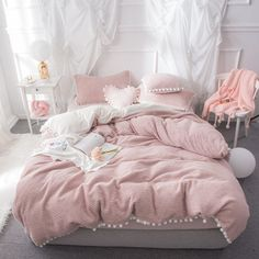 DecBest Double Sided Flannel Bedding Sets Solid Color Wavy Stripes Thickening Duvet Cover is hot sale on Newchic with discounts. Pink Bed Sheets, King Size Bed Sheets, Bed Sheet Sets, Bed Sets, Velvet Bed Sheets, Cute Bed Sheets, King Size Bedding Sets, Light Pink Comforter, Light Pink Duvet Cover