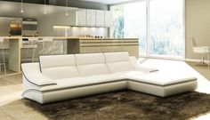 Divani Casa 5076B White Bonded Leather Sectional Sofa - Stylish Design Furniture