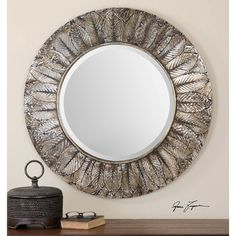 Foliage Layered Natural Distressed Silver Leaf Round Mirror Uttermost Round Mirrors Home D