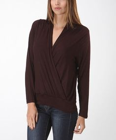 Look at this Bellino Chocolate Surplice Top on #zulily today!