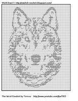 Free Filet Crochet Charts and Patterns: Filet Crochet Wolf Chart 1