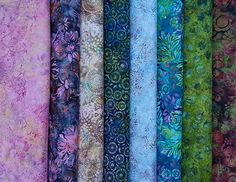 Hoffman batik fabrics from various fashion ranges. Bold, vibrant colors in an assortment of lively patterns