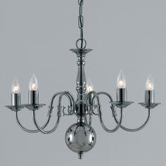 Traditional 5 arm flemish chandelier, classic Flemish style chandelier in Soild Brass with an Gun Metal finish.  Handmade in England to the highest quality.