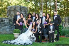 Black and white wedding photography with purple bouquets