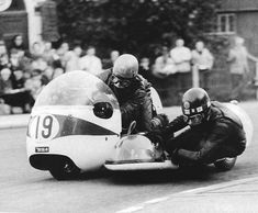 Terry Vinnicombe & John Flaxman, 1965 IoM TT on BSA.  In 1968 they won the first 750cc sidecar race (which was a two tier race for 500 machines and 750 machines) on a BSA in 1968.  Vinnicombe died of thrombosis later that year (aged 32).