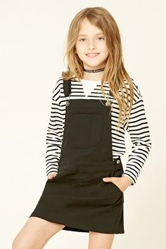 Forever 21 Girls - A knit overall dress featuring an adjustable crisscross straps, six-pocket construction, button sides, and snap-button closure.