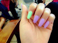 Coffin Nails #matte #pastel #nails