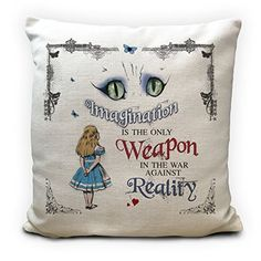 Alice in Wonderland Cushion Pillow Cover, Cheshire Cat Imagination Quote, Handmade Home Decor Gift, 16 Inches High Quality Alice In Wonderland Artwork, Imagination Quotes, Mad Hatter Tea, Party Props, Party Ideas, Handmade Home Decor, Cotton Pillow, Vintage Gifts, Cheshire Cat