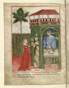 Nouvelle acquisition latine 1673, fol. 81v, Marchand de sucre candi. Tacuinum sanitatis, Milano or Pavie (Italy), 1390-1400.  Keywords: striped dress, houppelande