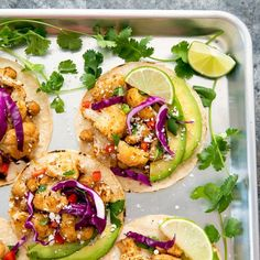 Sheet Pan Cauliflower Chickpea Tacos. A flavorful, meatless taco option with easy clean-up!