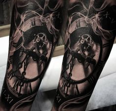 Clock & Smoke http://tattooideas247.com/clock-smoke/