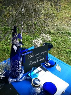 Baby's breath and cobalt blue glass in combination with vintage chalkboards can make any wedding perfectly vintage and rustic Something Borrowed, Something Blue, Cobalt Glass, Cobalt Blue, Sapphire Wedding, Blue Sapphire, Vintage Chalkboard, Baby's Breath, Centerpieces