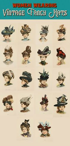 In this series you get 18 unique images of late Victorian era women wearing hats with feathery plumage. This trend came to an end after two women instigated a Victorian Era Fashion, Victorian Hats, Victorian Costume, Victorian Women, Victorian Gothic, Victorian Makeup, Victorian Era Hairstyles, Vintage Hairstyles Tutorial, Victorian Pattern