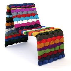 T-shirt Chair Rag Edition, Maria Westerberg, eside, [RR: Thinking of how to use this idea for a wall hanging with Tony's tees Kids Bedroom Furniture, Cool Furniture, Reuse Clothes, Fibres, Soft Sculpture, Quality Furniture, Sustainable Design, Rug Making, Art And Architecture