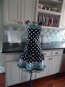 black and blue apron