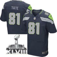 10a181eaa Nike Seattle Seahawks 81 Golden Tate Elite Blue 2014 Super Bowl XLVIII NFL  Jerseys