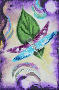 Original 3D Acrylic Dragonfly Painting Jeweled by Artfulcreations, $25.00